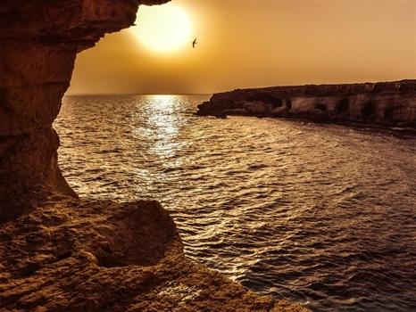 Sea caves at sunset