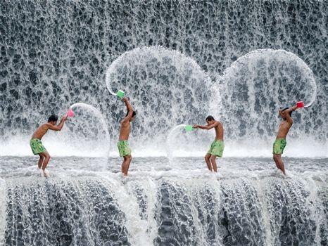 Splashy day on water