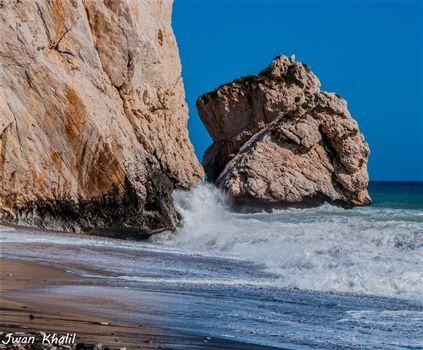 Aphrodites Rock in rough sea