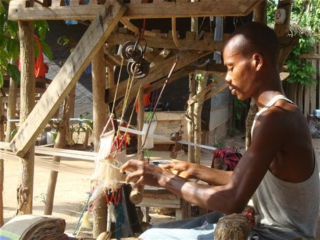 Kente weaver in action