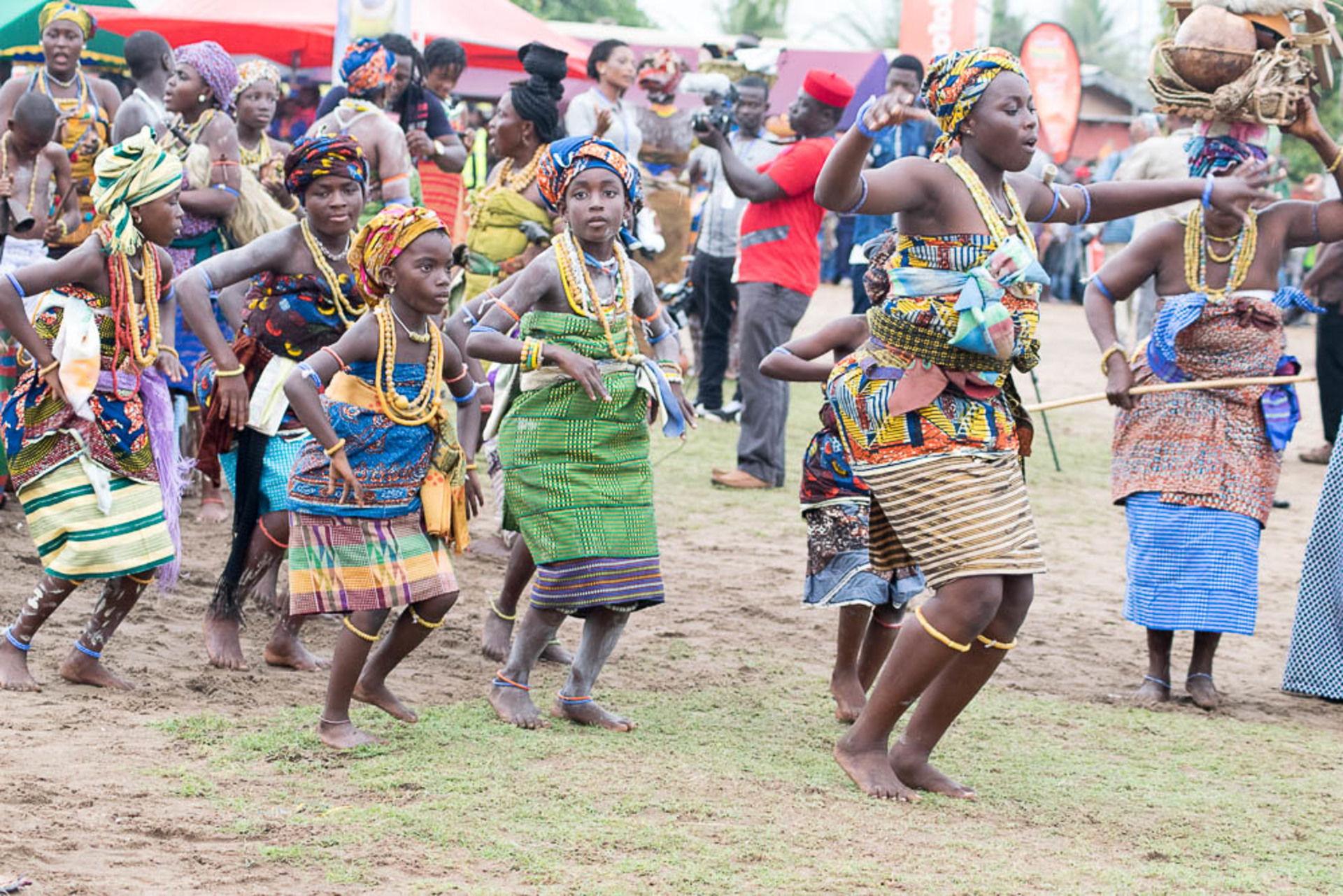 Women dancing at a cultural festival in Ghana